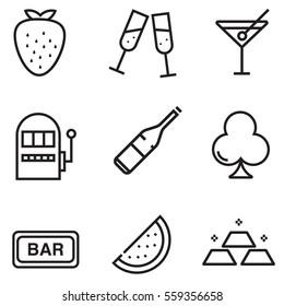 Casino icon set design with clour, illustration EPS10
