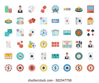 Casino icon set. Flat vector related icon set for web and mobile applications. It can be used as - logo, pictogram, icon, infographic element. Vector Illustration.