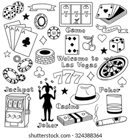 Casino icon set hand drawn. Doodle big collection of game icons and casino icons. Illustration with sketch objects and poker elements, las vegas symbol. Black and white background with playing cards