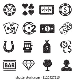 Casino Icons. Black Scribble Design. Vector Illustration.