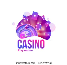 casino icons chips roullet cubes place for text