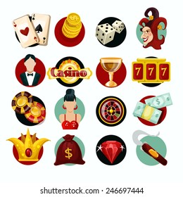 Casino icons set with roulette cigar jocker slot machine isolated vector illustration