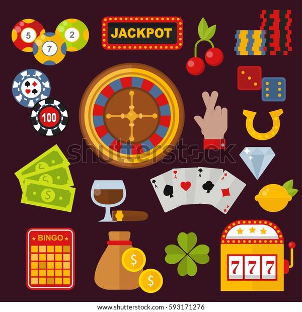 Casino Icons Set Roulette Gambler Joker Stock Vector Royalty Free 593171276