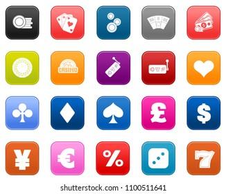 Casino Icons set - vector gambling money illustrations