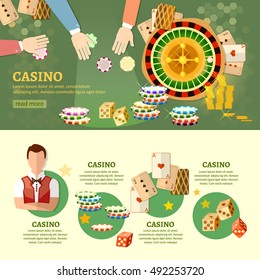 Casino infographics playing cards baccarat table casino games people play casino roulette vector illustration