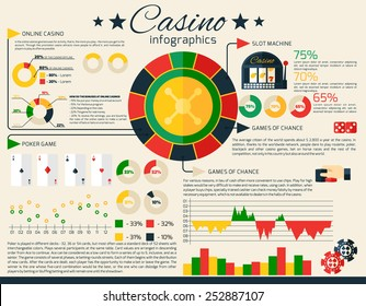 Casino infographics set with gambling and fortune games symbols and charts vector illustration