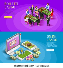 Casino isometric banners with roulette gambling tables people characters and online gaming apps with read more button vector illustration