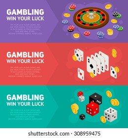 Casino isometric design concept of gambling templates with game items - roulette, poker chips, playing cards, dice, domino, coins