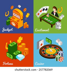 Casino isometric design concept set with jackpot excitement fortune icons isolated vector illustration