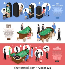Casino isometric horizontal banners set of win jackpot poker night and roulette design concept vector illustration