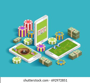 Casino isometric icons composition with chips bundles of banknotes and smartphone images with casino gaming apps vector illustration
