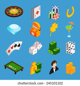 Casino isometric icons set with roulette cards dice money isolated vector illustration