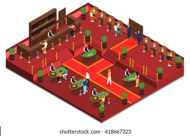 Casino isometric interior with game room bar slots and playing people vector illustration