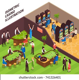 Casino isometric vector illustration with game halls equipment and people coming to play gambling games