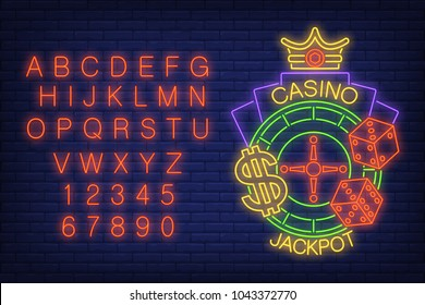 Casino jackpot neon sign. Glowing neon bar alphabet and numbers. Roulette with dollar sign, dice and crown. Night bright advertisement. Vector illustration in neon style for gambling and casino game