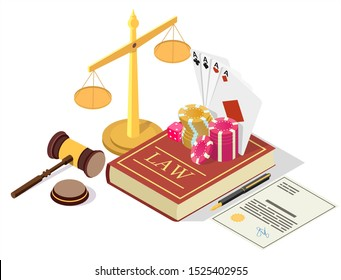Casino legalization vector concept illustration. Isometric legal symbols Law book with gambling chips, dices, playing cards, scales of justice, judge gavel, gaming license.