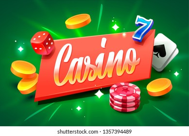 Casino lettering isolated on violet background with casino icons. Vector illustration.