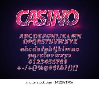casino lettering. Modern Light Alphabet Vector Font. 3d letters on dark glow background