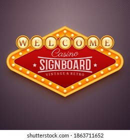 Casino light sign. Wall signage with marquee lights. Casino, theater, cinema or club decor. Retro banner, frame with light bulbs. Vector illustration of vintage signboard for posters and other ads.