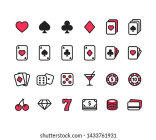 Casino line icon set. Poker cards, dice and chips, slot machine symbols and money. Simple modern style vector icons.