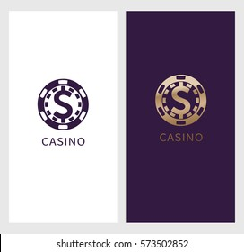 Casino logo banner, dollar sign icon in chip, royal label symbol, logotype concept. Will be suitable for flyer, poster. vector illustration isolated on white background