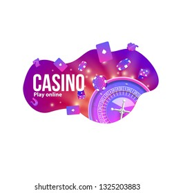 casino logo chips roulette place for text shape style