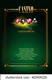 Casino Logo Poster Background or Flyer with Card Suits. Banner with Casino Logo Badges. Game Cards. Playing Casino Games. Casino Banner. Casino Gambling Border or Flyer Template background.