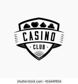 Casino logo. Vector and illustration. Casino shield vintage design logo template.