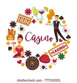 Casino logotype with elegant croupier, female player and gambling equipment
