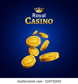 Casino money coins winner. Golden coins and crown success design illustration poster