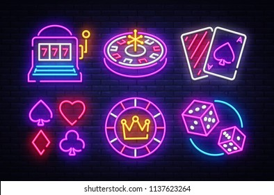 Casino neon collection vector icons. Casino Emblems and Labels, Bright Neon Sign, Slot Machine, Roulette, Poker, Dice Game. Vector illustration