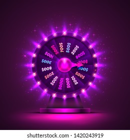 Casino neon colorful fortune wheel. purple background. Vector illustration