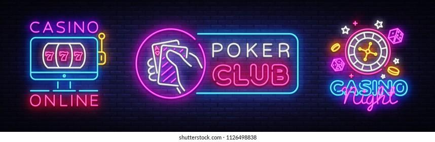 Casino Neon Logos collection Vector. Poker Club neon sign, design template, Casino online, modern trend design, casino neon signboard, night bright advertising, light banner, light art. Vector