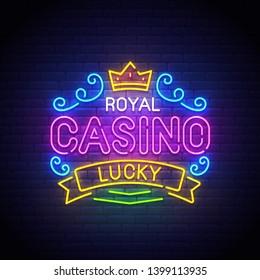 Casino neon sign, bright signboard, light banner. Casino Royal logo, emblem. Casino label. Vector illustration