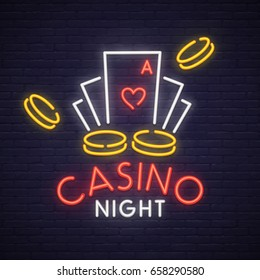 Casino neon sign, bright signboard, light banner. Casino logo, emblem