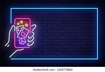 Casino neon sign vector design template. Casino Online neon frame, light banner design element colorful modern design trend, night bright advertising, bright sign. Vector illustration