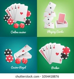 Casino online 4 realistic green background icons with deck playing cards poker chips dice isolated vector illustration