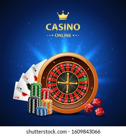 Casino online background with roulette wheel, chips poker and playing cards. Vector illustration