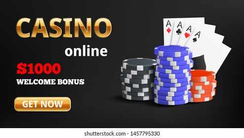 Casino online banner with dark background, chips and cards, four ace. Vector illustration concept.
