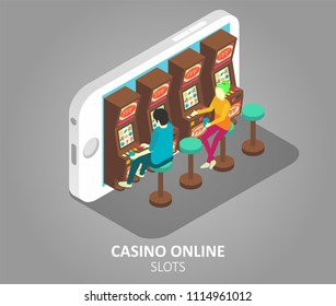 Casino online mobile slots concept. Vector isometric illustration of gamblers playing mobile slot machine game on smartphone.