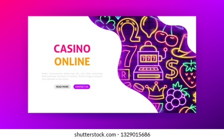Casino Online Neon Landing Page. Vector Illustration of Game Promotion.