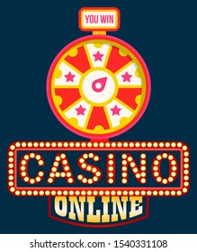 Casino online vector, shining signboard with retro bulbs. Fortune wheel with spinning circle and money sum, gaming and gambling. Lucky circle or lucky rotation. Wheel luck in flat style