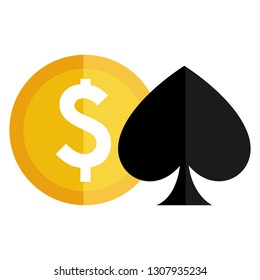 casino pick symbol with money