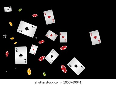 Casino Playing Cards and Chips are falling down. Vector illustration