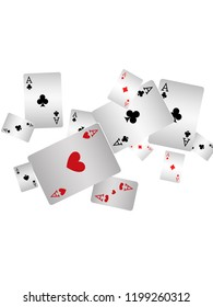 Casino Playing Cards are falling down. Playing Cards rain. Vector illustration