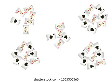 Casino Playing Cards are falling down. Pattern for ads of parties, events in Vegas. Vector illustration