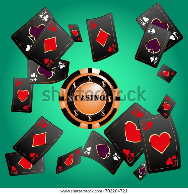 Casino. Playing Cards are falling down. Playing Cards rain. Vector illustration