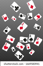 Casino Playing Cards on transparent background. Pattern for ads of parties, events in Vegas. Vector illustration