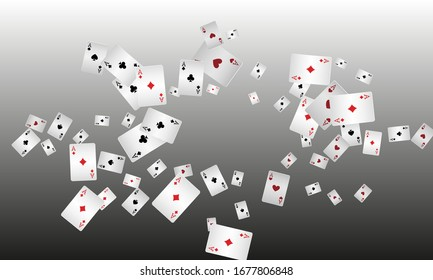 Casino Playing Cards. Pattern for ads of parties, events in Vegas. Vector illustration