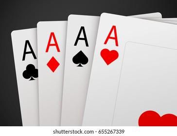 Casino Poker Card Background. Big win concept. Vector illustration